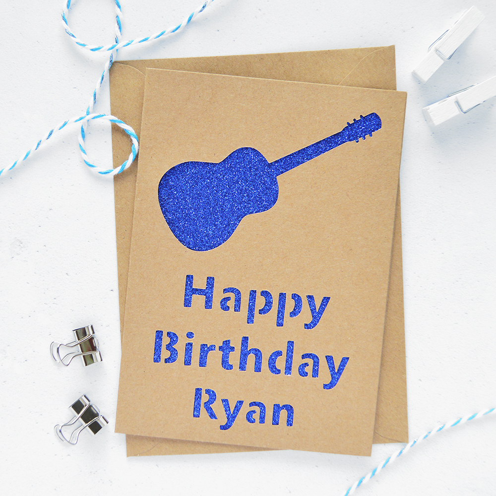 Personalised Guitar Glitter Cut Out Card