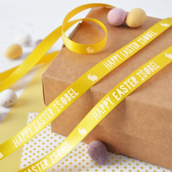 10mm personalised Easter ribbon in daffodil with white print