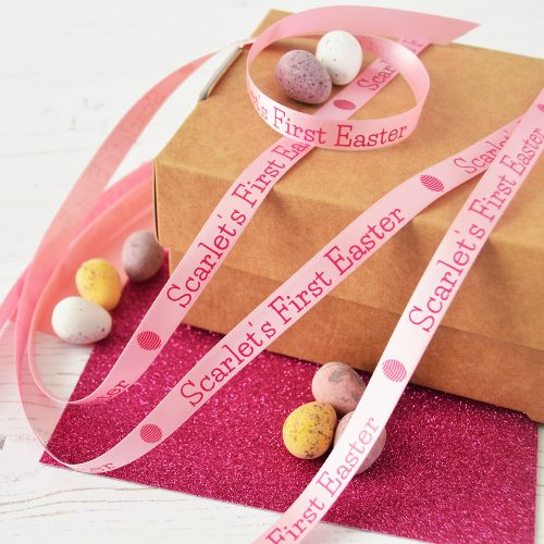 10mm personalised Easter ribbon in pastel pink with pink print