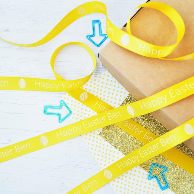 15mm personalised Easter ribbon in daffodil with white print