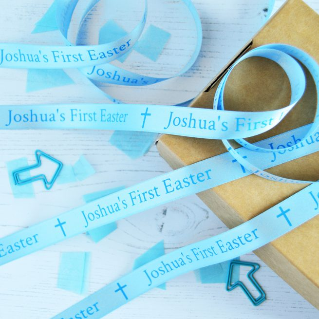 15mm personalised Easter ribbon in pastel blue with cyan blue print