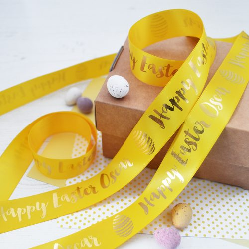 25mm personalised Easter ribbon in daffodil with metallic gold print