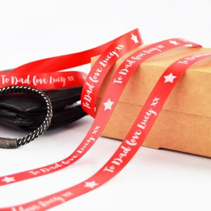 15mm Personalised Father's Day ribbon in red with white printed text and an image of a star