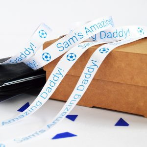15mm personalised Father's Day ribbon in white with cyan blue printed text and an image of a football