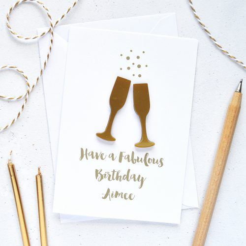 Personalised Acrylic Champagne Flutes Birthday Card