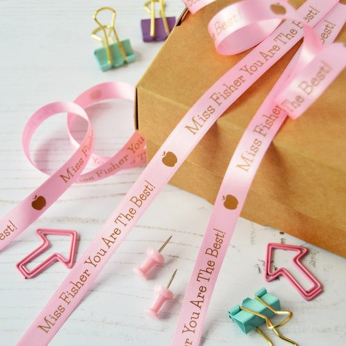 10mm Personalised Thank You Teacher Ribbon in Pastel Pink with Pink print