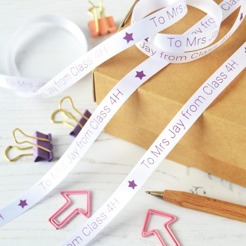 10mm Personalised Thank You Teacher Ribbon in White with Purple print