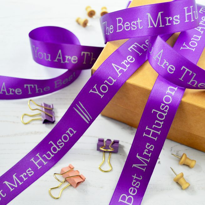 25mm Personalised Thank You Teacher Ribbon in Purple with Matt Silver print