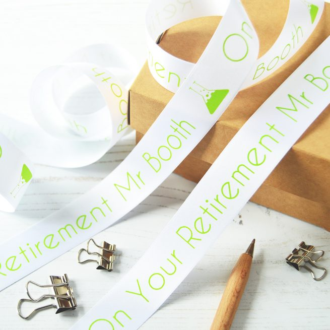 25mm Personalised Thank You Teacher Ribbon in White with Lime Green Print