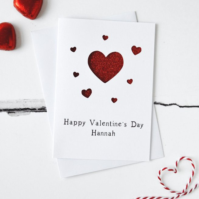 Personalised Valentine's Hearts Glitter Cut Out Card