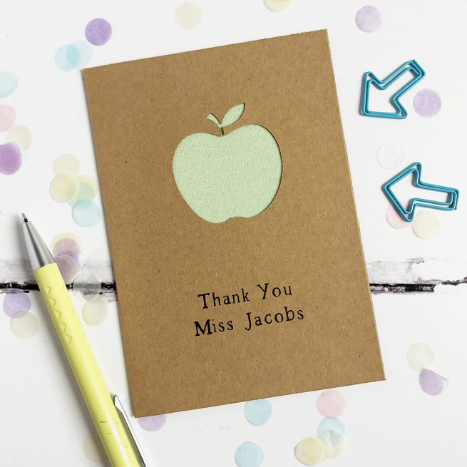 Personalised Apple Thank You Teacher Glitter Cut Out Card - Kraft Card and Pastel Green Glitter