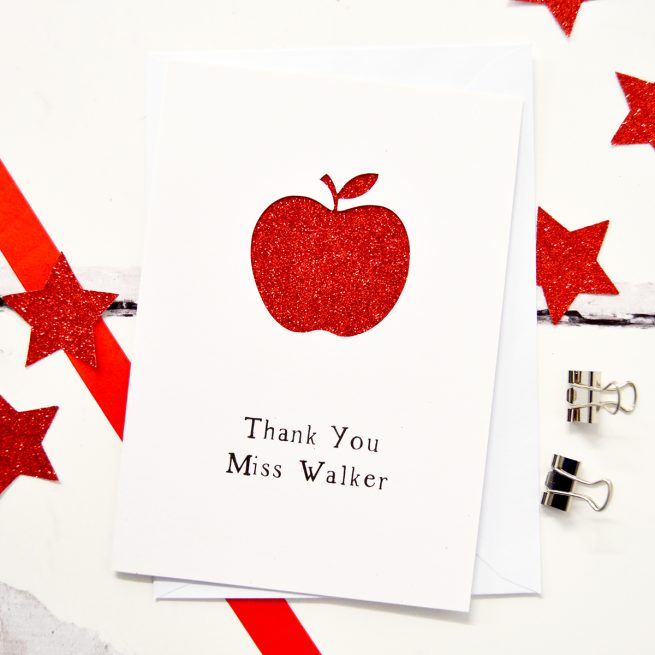 Personalised Apple Thank You Teacher Glitter Cut Out Card - White Card and Red Glitter
