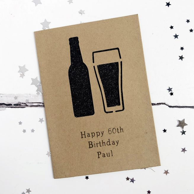 Personalised Beer Glitter Cut Out Card in Kraft and Black Glitter