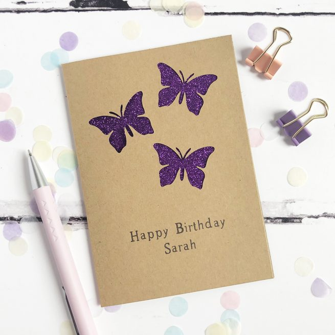Personalised Butterflies Glitter Cut Out Card in Kraft and Purple Glitter
