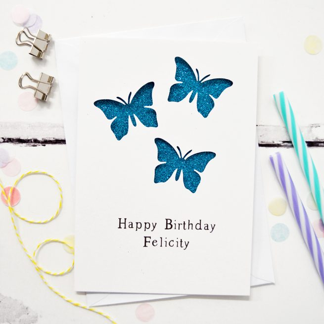 White and Turquoise Glitter Butterflies Greetings Card by Altered Chic