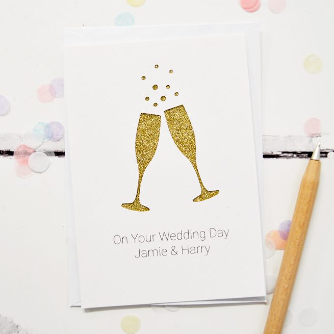 Personalised Champagne Flutes Glitter Cut Out Card in White and Gold Glitter