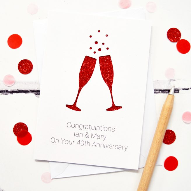 White and Red Glitter Anniversary Card with Champagne Glasses by Altered Chic