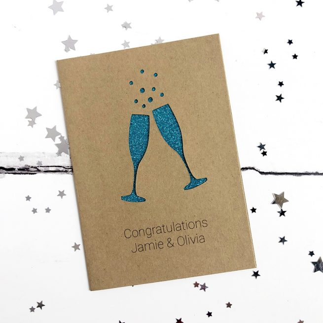 Personalised Champagne Flutes Glitter Cut Out Card in Kraft and Turquoise Glitter
