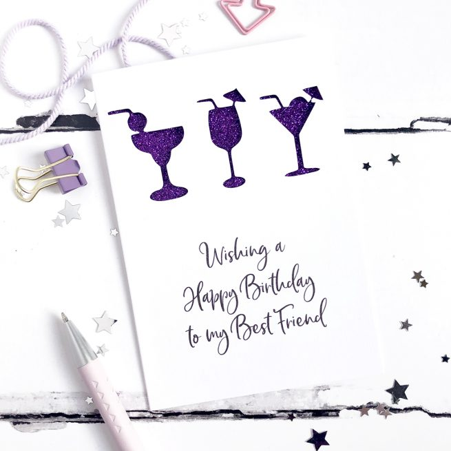 Personalised Cocktails Glitter Cut Out Card in White and Purple Glitter