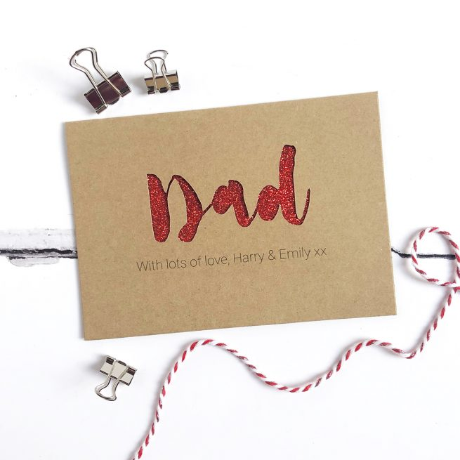 Personalised Dad Glitter Cut Out Card in Kraft and Red Glitter