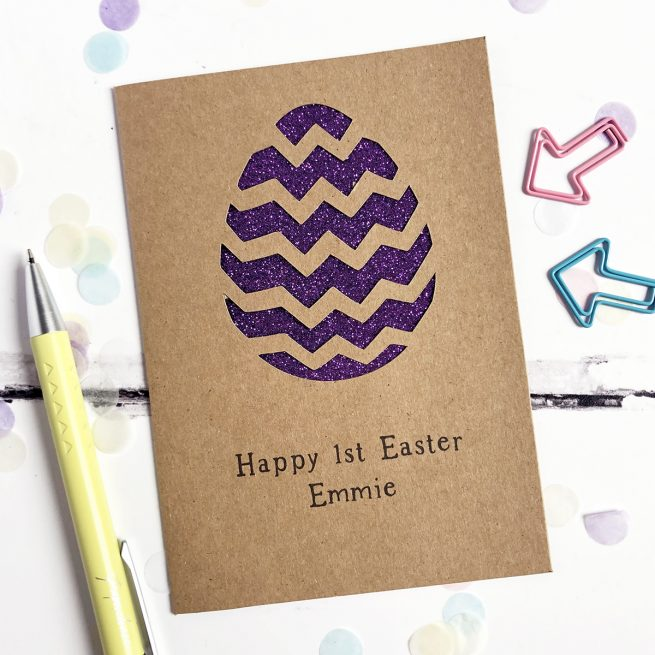 Personalised Easter Egg Glitter Cut Out Card in Kraft and Purple Glitter
