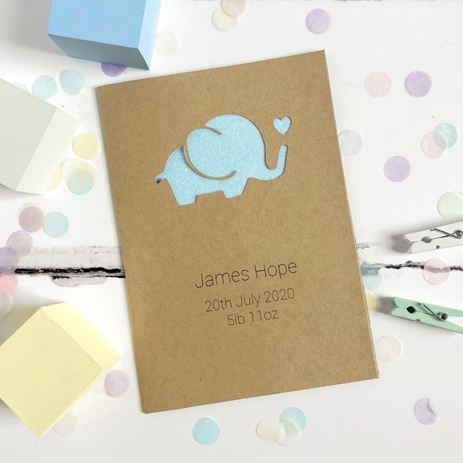 Personalised Elephant New Baby Glitter Cut Out Card in Kraft and Pastel Blue Glitter