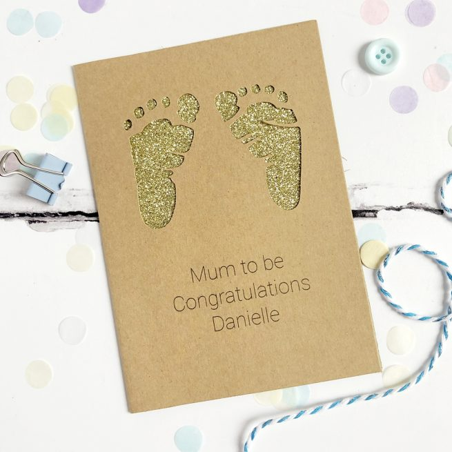 Personalised Foot Prints New Baby Glitter Cut Out Card in Kraft and Gold Glitter