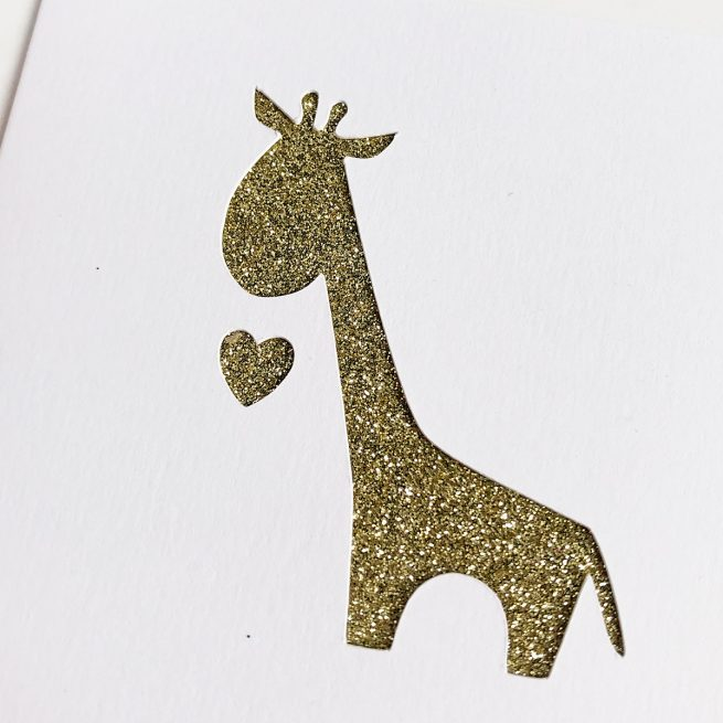 Gold Glitter Giraffe Greetings Card with Printed Message by Altered Chic