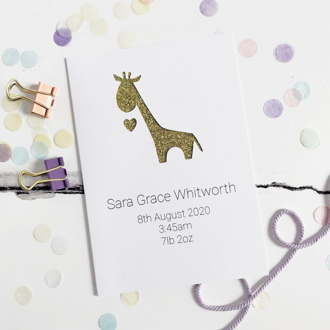 Personalised Giraffe New Baby Glitter Cut Out Card in White and Gold Glitter
