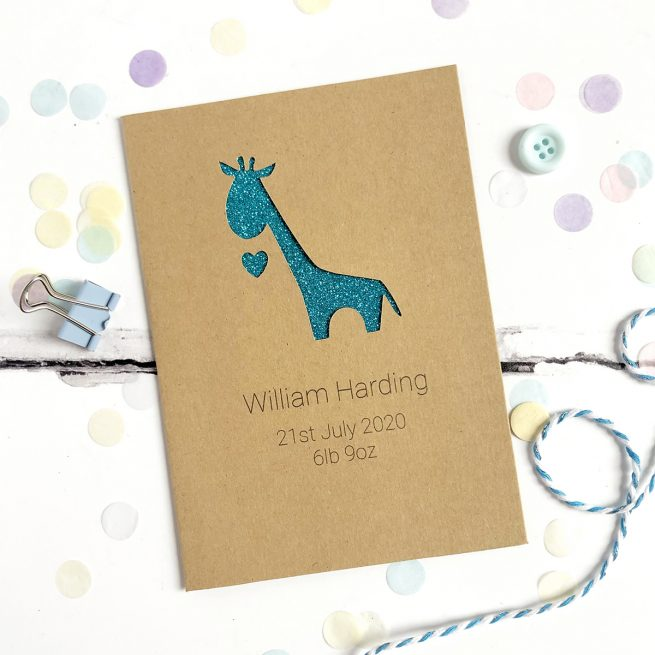 Personalised Giraffe New Baby Glitter Cut Out Card in Kraft and Turquoise Glitter