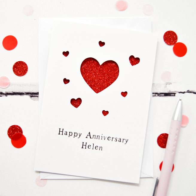 Personalised Anniversary Hearts Glitter Cut Out Card in White and Red Glitter