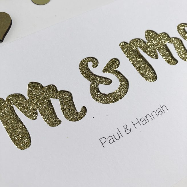 Detail of Cut Out Card in White and Gold Glitter from Altered Chic