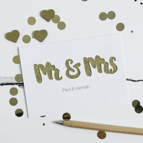 Personalised Mr & Mrs Glitter Cut Out Card in White and Gold Glitter