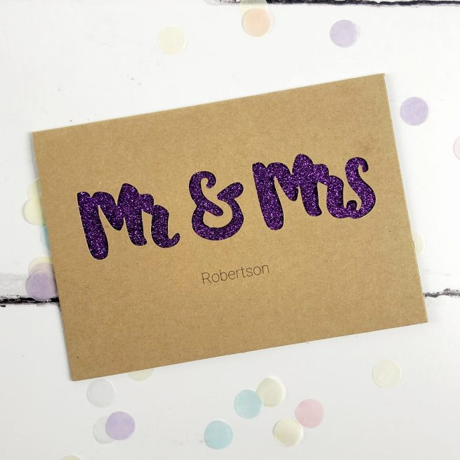 Personalised Mr & Mrs Glitter Cut Out Card in Kraft and Purple Glitter
