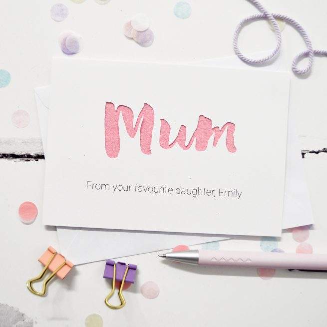 Personalised Mum Glitter Cut Out Card in White and Bright Pink Glitter