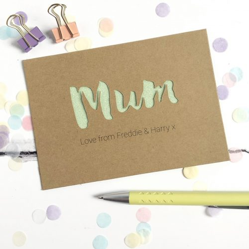 Personalised Mum Glitter Cut Out Card in Kraft and Pastel Green Glitter