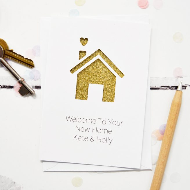 Personalised New Home Glitter Cut Out Card White with Gold Glitter