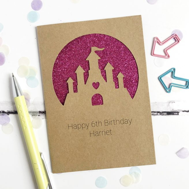 Personalised Princess Castle Glitter Cut Out Card in Kraft and Fuchsia Glitter