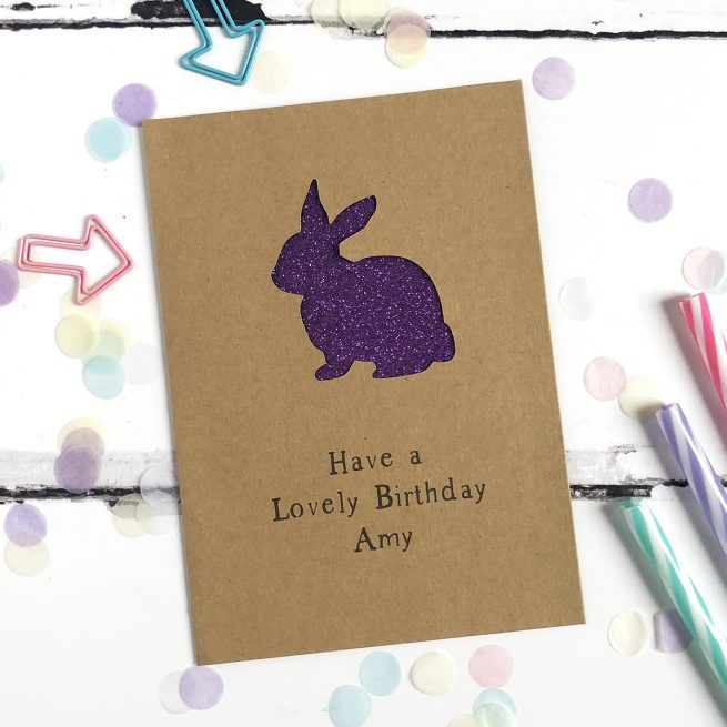 Personalised Rabbit Glitter Cut Out Card in Kraft and Purple Glitter