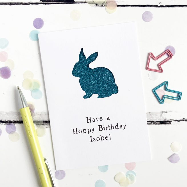 Personalised Rabbit Glitter Cut Out Card in White and Turquoise Glitter