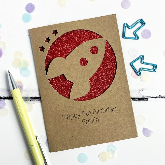 Personalised Rocket Glitter Cut Out Card in Kraft and Red Glitter