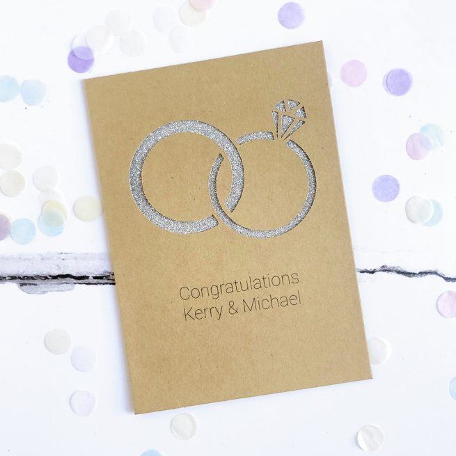Personalised Wedding Rings Glitter Cut Out Card in Kraft with Silver Glitter