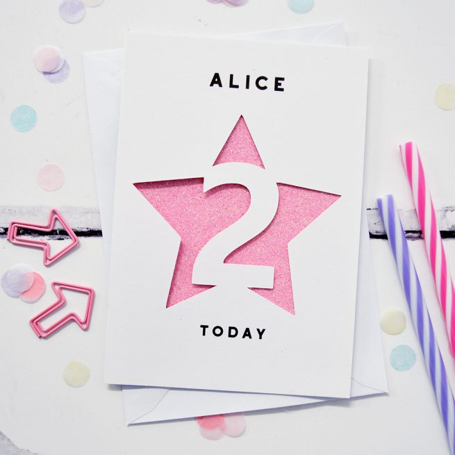 Personalised Stars Age Glitter Cut Out Card in White and Bright Pink Glitter