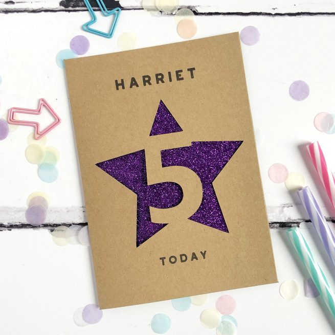Personalised Children's Age Glitter Cut Out Card in Kraft and Purple Glitter