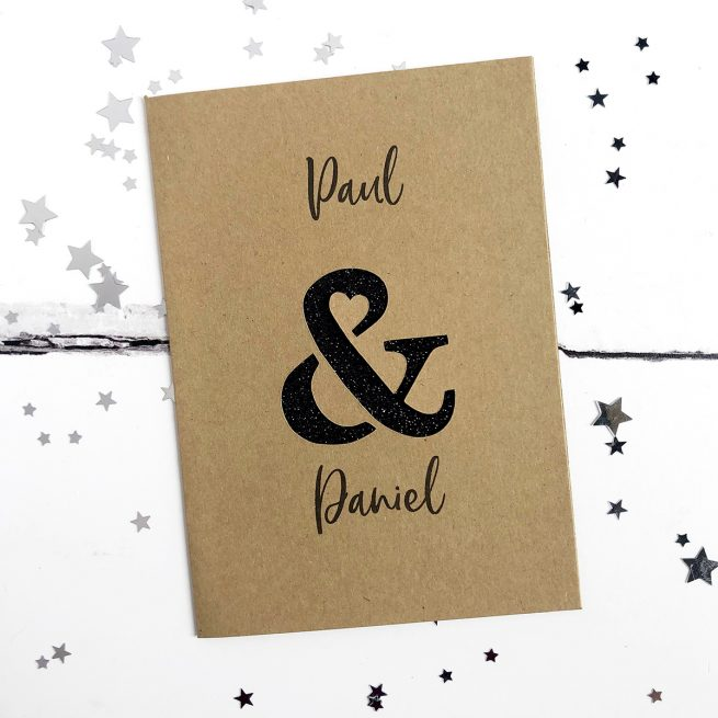 Personalised Ampersand Glitter Cut Out Card in Kraft and Black Glitter