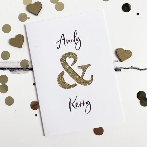 Personalised Ampersand Glitter Cut Out Card in White and Gold Glitter