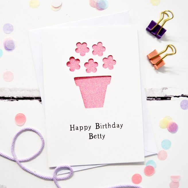 Personalised Flower Pot Glitter Cut Out Card in White and Bright Pink Glitter