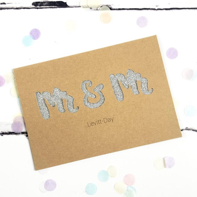Personalised Mr & Mr Glitter Cut Out Card in Kraft and Silver Glitter