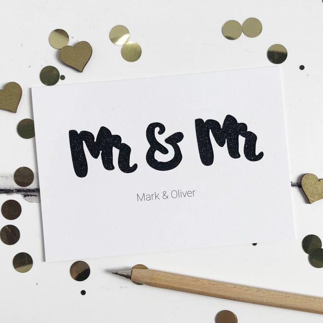 Personalised Mr & Mr Glitter Cut Out Card in White and Black Glitter