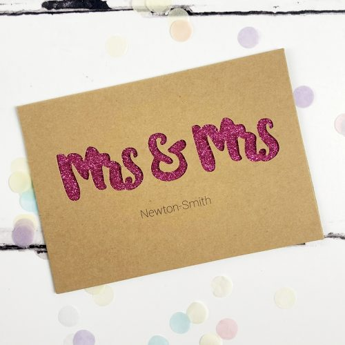 Personalised Mrs & Mrs Glitter Cut Out Card in Kraft and Fuchsia Glitter